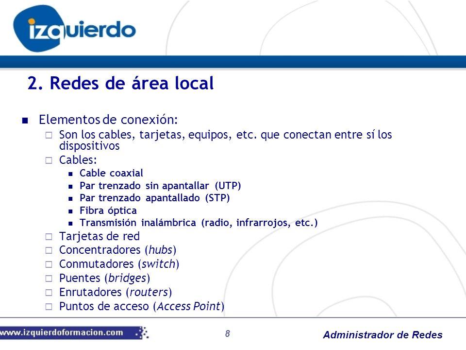 Administrador de Redes Direccionamiento IP Formato de dirección IP (32 bits): Identificador de red (netid) Identificador de host (hostid) Clases de direcciones (A, B, C, D y E) 5.