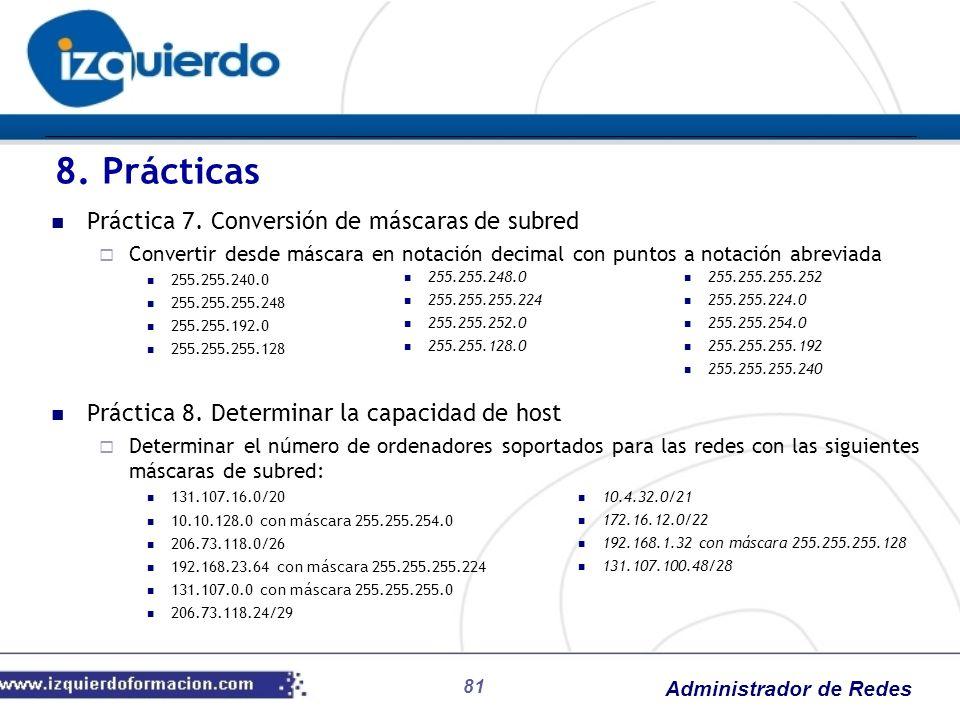 Administrador de Redes 81 Práctica 7. Conversión de máscaras de subred Convertir desde máscara en notación decimal con puntos a notación abreviada 255