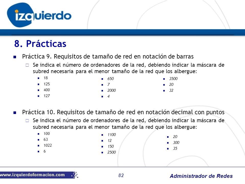 Administrador de Redes 82 Práctica 9. Requisitos de tamaño de red en notación de barras Se indica el número de ordenadores de la red, debiendo indicar