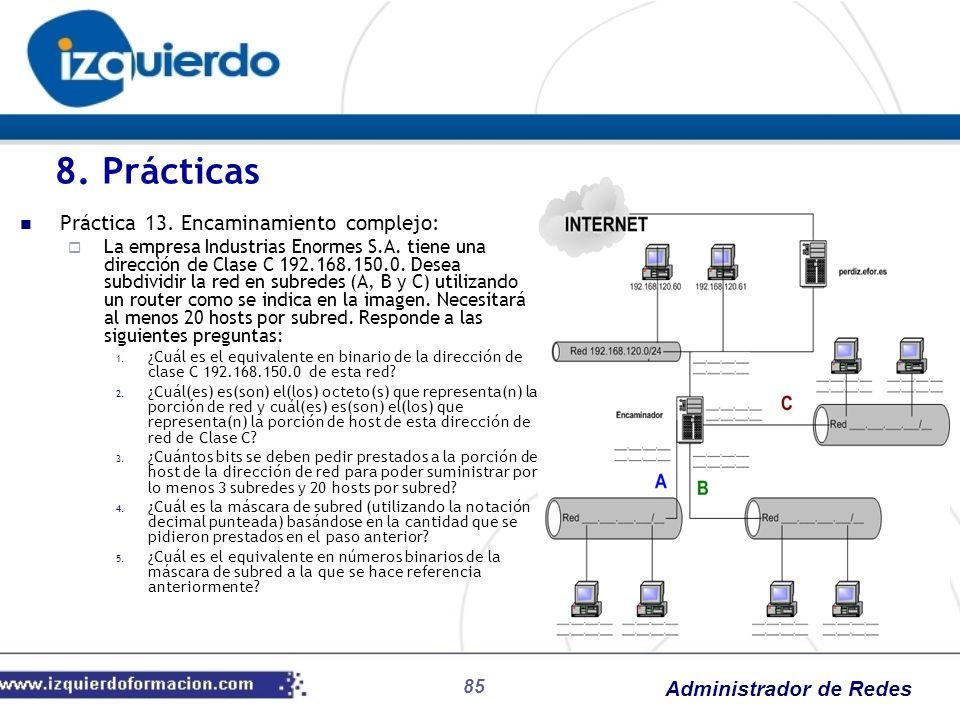 Administrador de Redes 85 Práctica 13. Encaminamiento complejo: La empresa Industrias Enormes S.A. tiene una dirección de Clase C 192.168.150.0. Desea