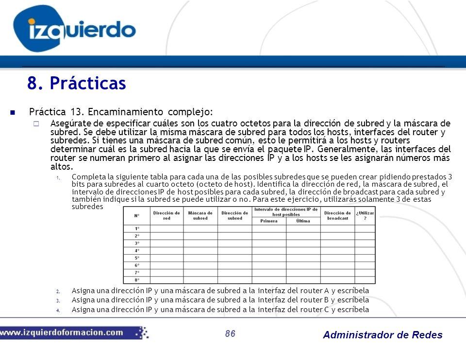 Administrador de Redes 86 Práctica 13. Encaminamiento complejo: Asegúrate de especificar cuáles son los cuatro octetos para la dirección de subred y l