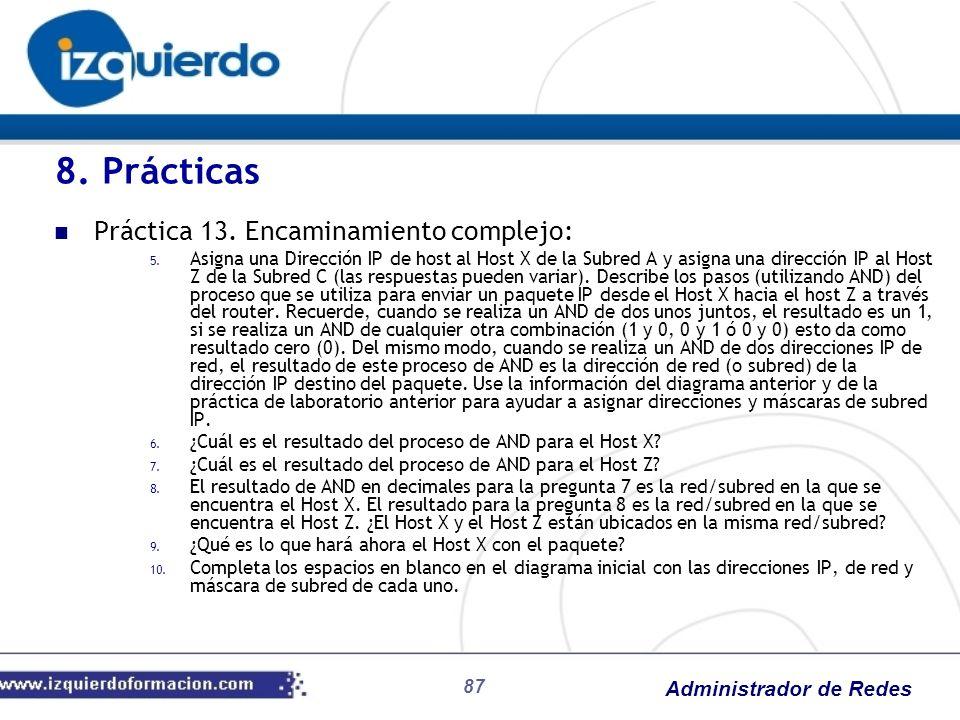 Administrador de Redes 87 Práctica 13. Encaminamiento complejo: 5. Asigna una Dirección IP de host al Host X de la Subred A y asigna una dirección IP