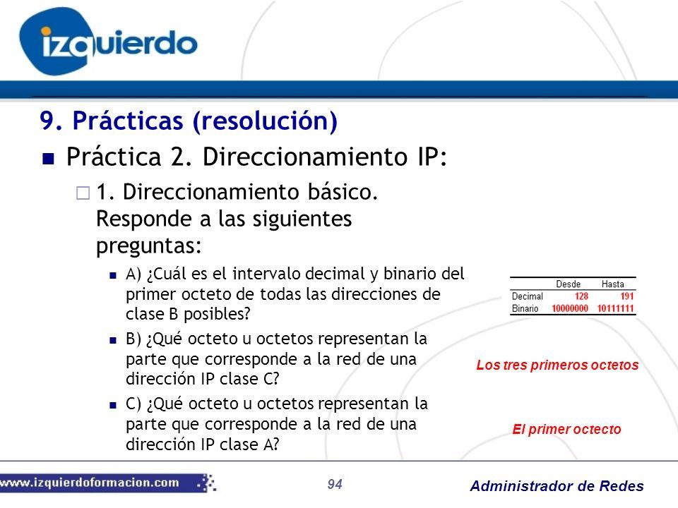 Administrador de Redes 94 Práctica 2. Direccionamiento IP: 1. Direccionamiento básico. Responde a las siguientes preguntas: A) ¿Cuál es el intervalo d