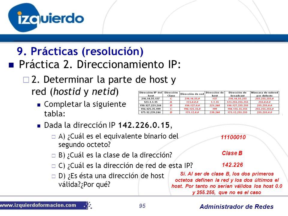 Administrador de Redes 95 Práctica 2. Direccionamiento IP: 2. Determinar la parte de host y red (hostid y netid) Completar la siguiente tabla: Dada la