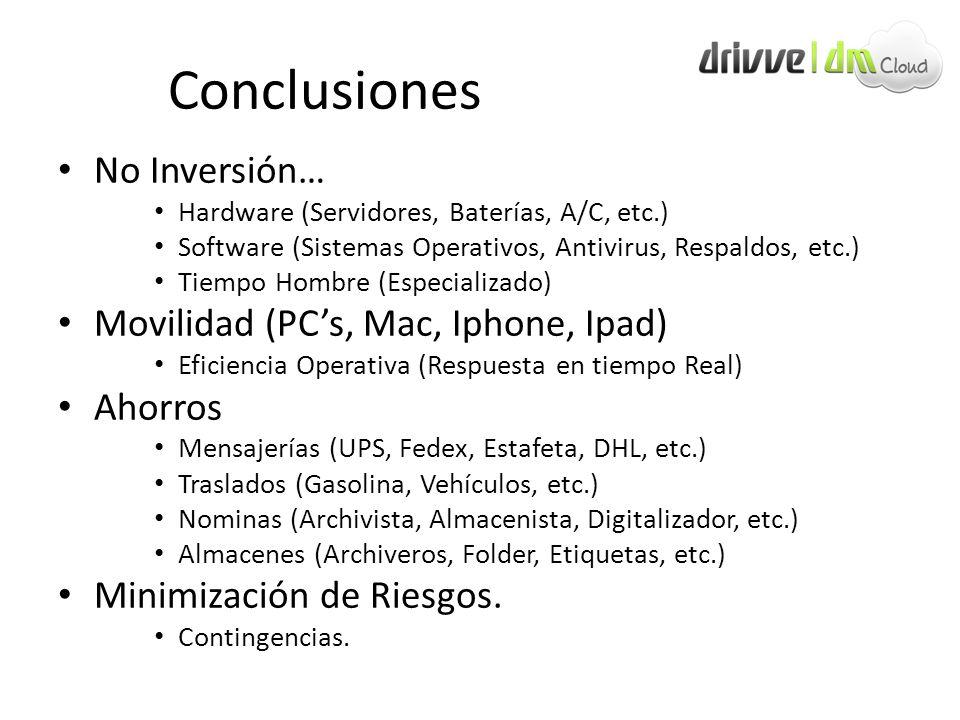 Conclusiones No Inversión… Hardware (Servidores, Baterías, A/C, etc.) Software (Sistemas Operativos, Antivirus, Respaldos, etc.) Tiempo Hombre (Especi