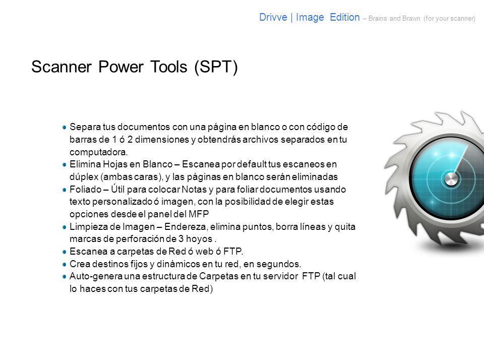 Scanner Power Tools (SPT) Separa tus documentos con una página en blanco o con código de barras de 1 ó 2 dimensiones y obtendrás archivos separados en