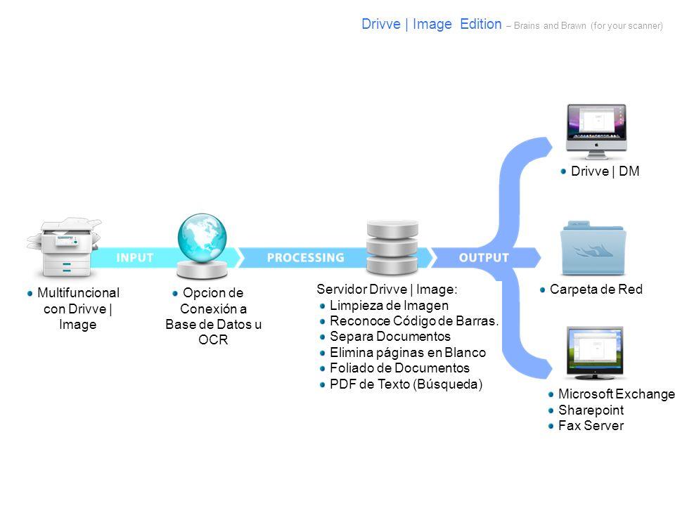 Multifuncional con Drivve | Image Opcion de Conexión a Base de Datos u OCR Servidor Drivve | Image: Limpieza de Imagen Reconoce Código de Barras. Sepa
