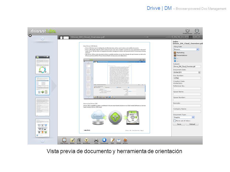 Vista previa de documento y herramienta de orientación Drivve | DM – Browser-powered Doc Management