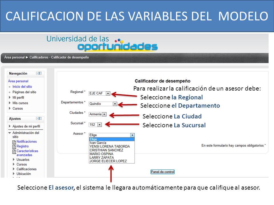 CALIFICACION DE LAS VARIABLES DEL MODELO Para realizar la calificación de un asesor debe: Seleccione la Regional Seleccione el Departamento Seleccione