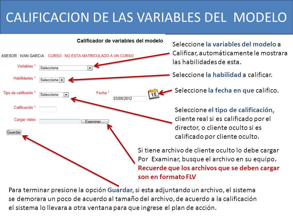 CALIFICACION DE LAS VARIABLES DEL MODELO Para terminar presione la opción Guardar, si esta adjuntando un archivo, el sistema se demorara un poco de ac