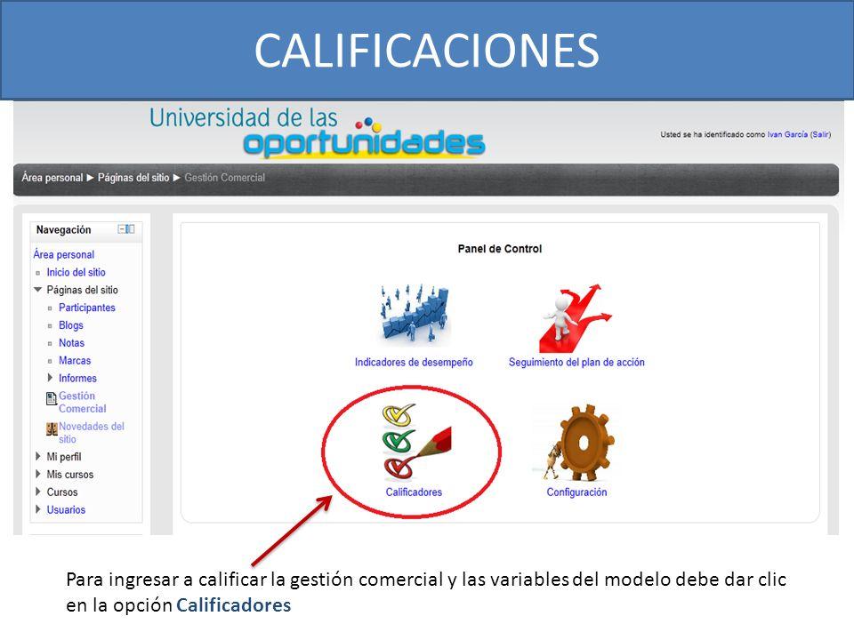 CALIFICACIONES Para ingresar a calificar la gestión comercial y las variables del modelo debe dar clic en la opción Calificadores