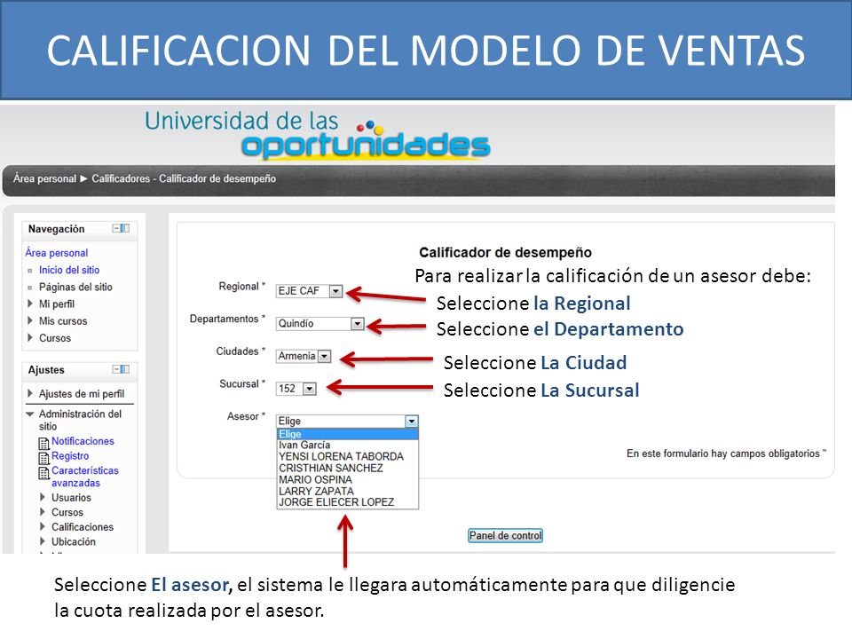CALIFICACION DEL MODELO DE VENTAS Para realizar la calificación de un asesor debe: Seleccione la Regional Seleccione el Departamento Seleccione La Ciu