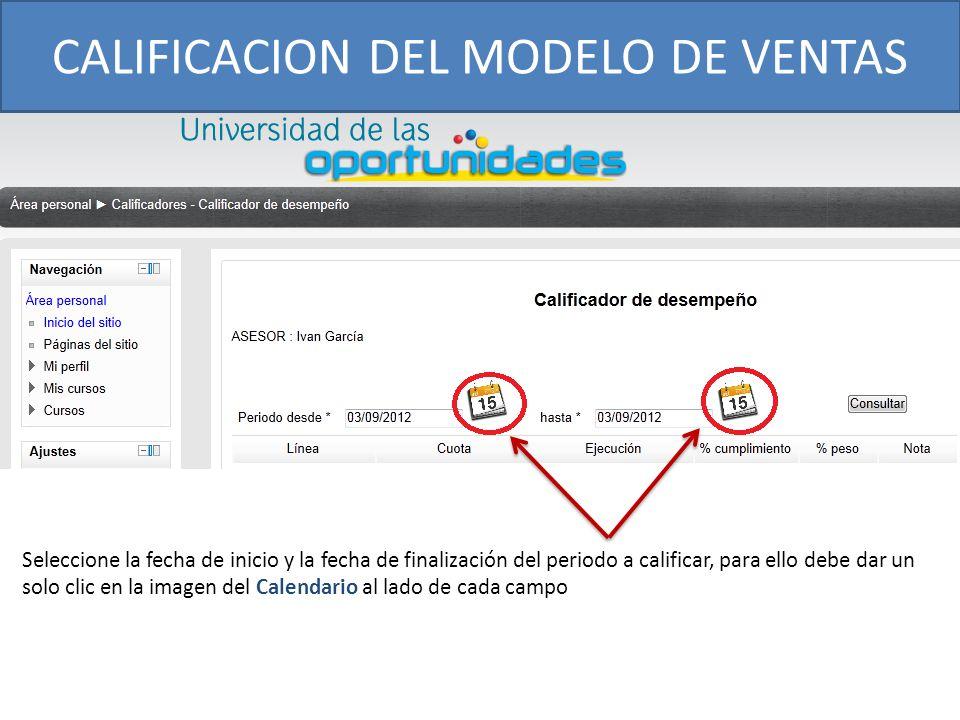 CALIFICACION DEL MODELO DE VENTAS Seleccione la fecha de inicio y la fecha de finalización del periodo a calificar, para ello debe dar un solo clic en