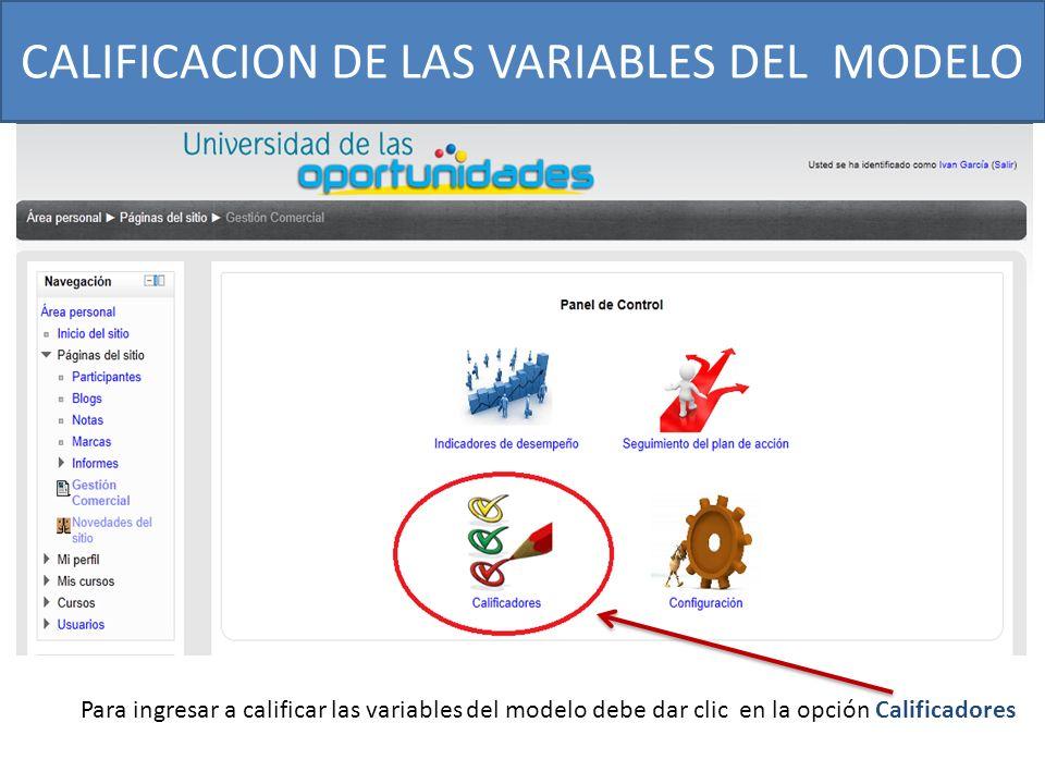 CALIFICACION DE LAS VARIABLES DEL MODELO Para ingresar a calificar las variables del modelo debe dar clic en la opción Calificadores
