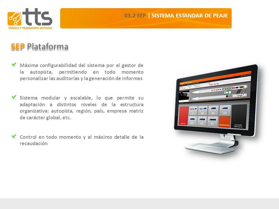 03.2 SEP | SISTEMA ESTANDAR DE PEAJE SEP Plataforma Máxima configurabilidad del sistema por el gestor de la autopista, permitiendo en todo momento per