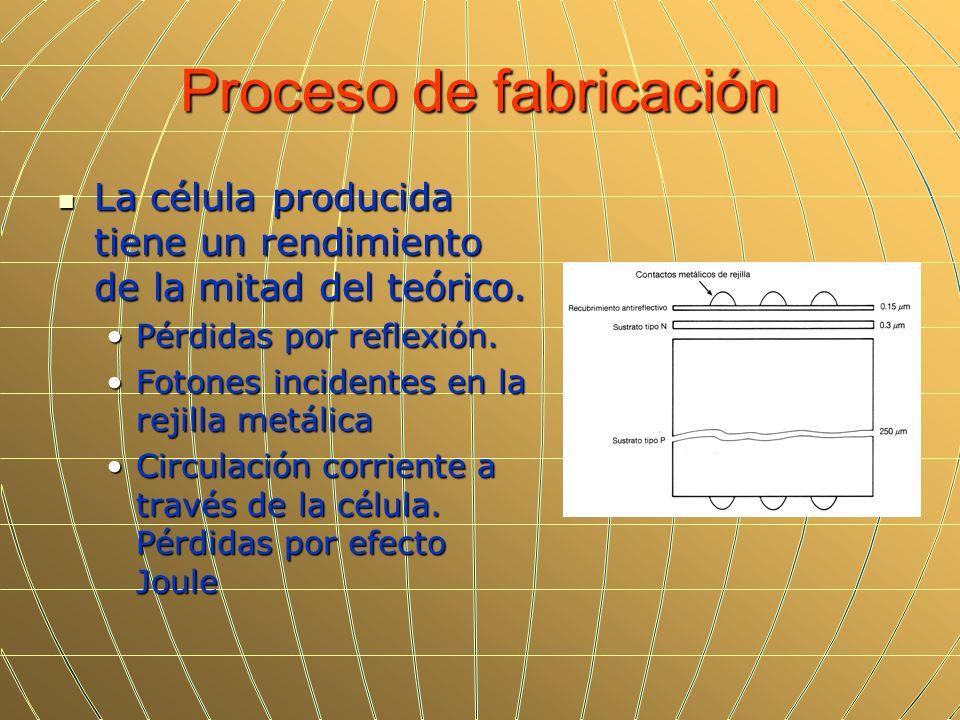 Proceso de fabricación La célula producida tiene un rendimiento de la mitad del teórico. La célula producida tiene un rendimiento de la mitad del teór
