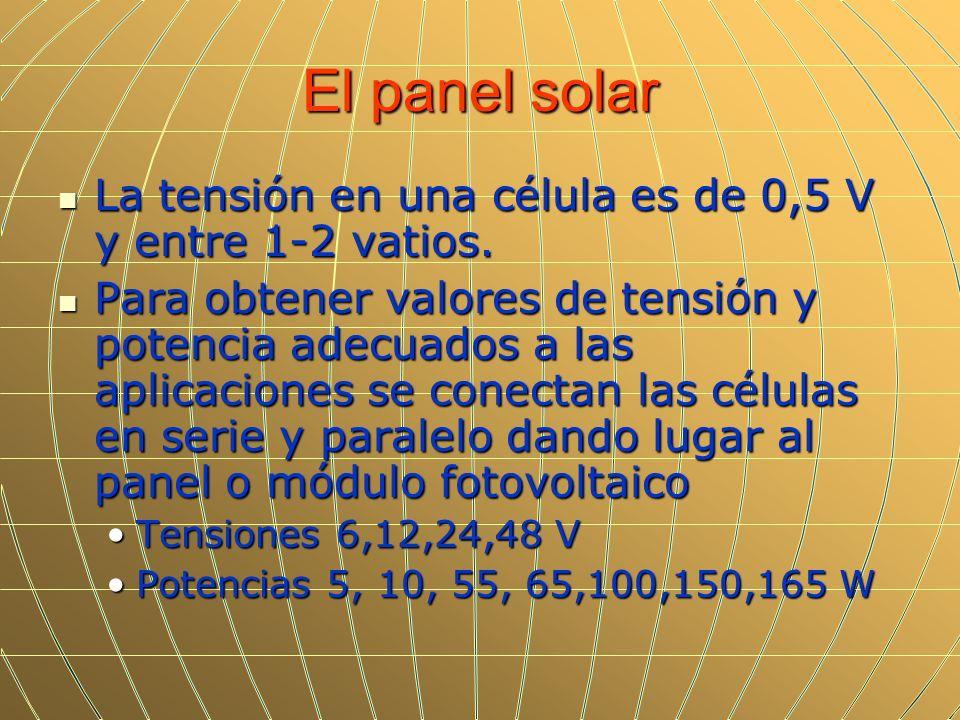 El panel solar La tensión en una célula es de 0,5 V y entre 1-2 vatios. La tensión en una célula es de 0,5 V y entre 1-2 vatios. Para obtener valores