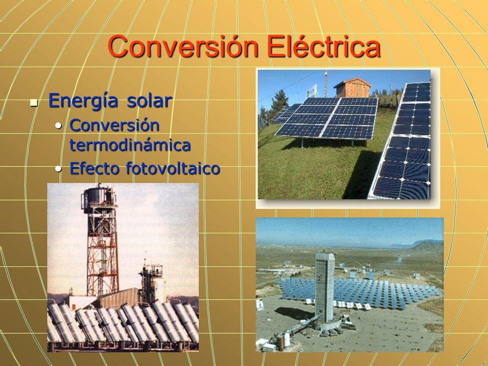 Conversión Eléctrica Energía solar Energía solar Conversión termodinámicaConversión termodinámica Efecto fotovoltaicoEfecto fotovoltaico