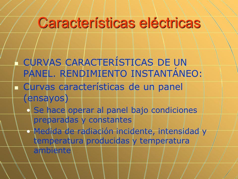 Características eléctricas CURVAS CARACTERÍSTICAS DE UN PANEL. RENDIMIENTO INSTANTÁNEO: Curvas características de un panel (ensayos) Se hace operar al