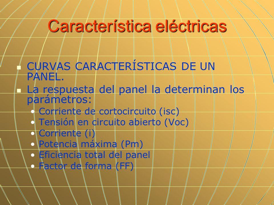 Característica eléctricas CURVAS CARACTERÍSTICAS DE UN PANEL. La respuesta del panel la determinan los parámetros: Corriente de cortocircuito (isc) Te
