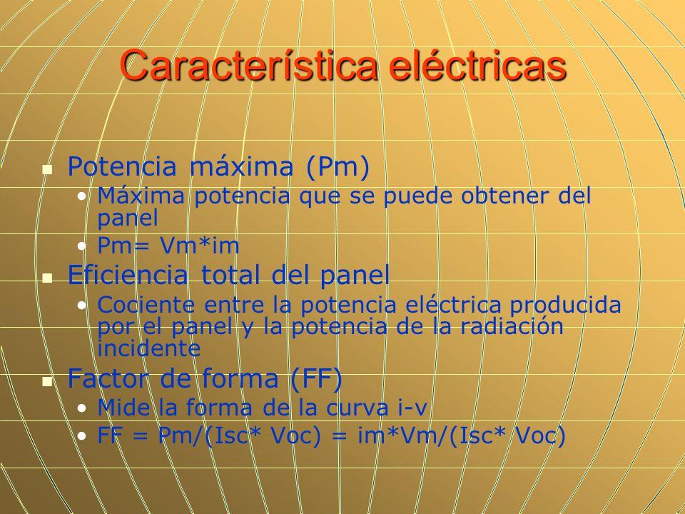 Característica eléctricas Potencia máxima (Pm) Máxima potencia que se puede obtener del panel Pm= Vm*im Eficiencia total del panel Cociente entre la p