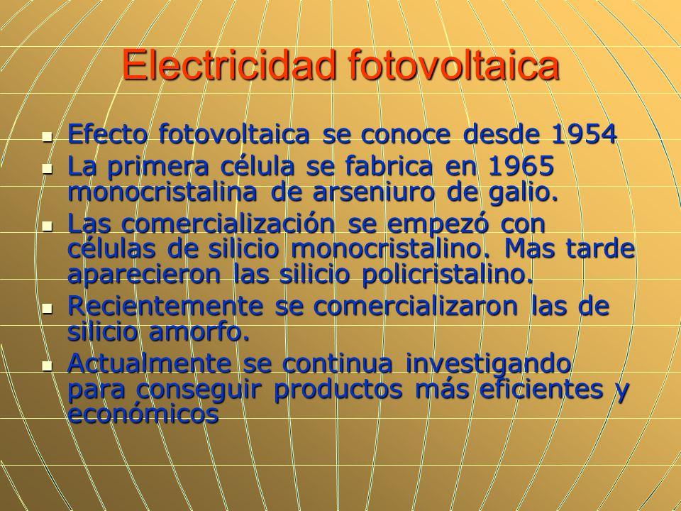 Electricidad fotovoltaica Efecto fotovoltaica se conoce desde 1954 Efecto fotovoltaica se conoce desde 1954 La primera célula se fabrica en 1965 monoc