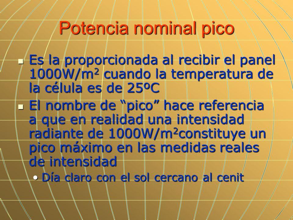 Potencia nominal pico Es la proporcionada al recibir el panel 1000W/m 2 cuando la temperatura de la célula es de 25ºC Es la proporcionada al recibir e