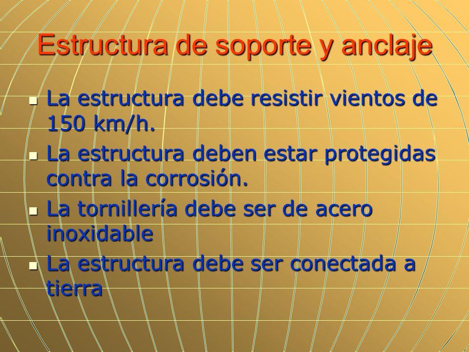 Estructura de soporte y anclaje La estructura debe resistir vientos de 150 km/h. La estructura debe resistir vientos de 150 km/h. La estructura deben