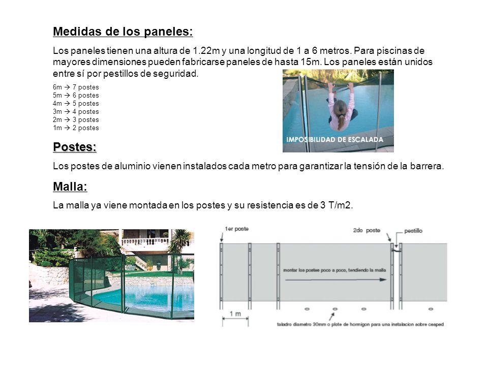 Medidas de los paneles: Los paneles tienen una altura de 1.22m y una longitud de 1 a 6 metros.