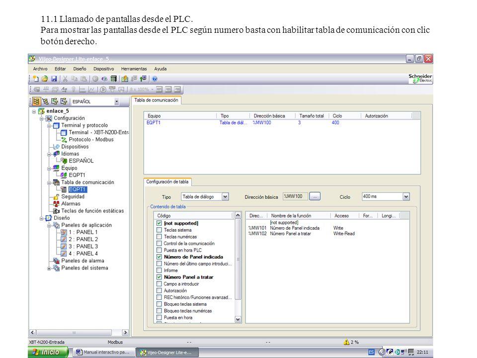 11.1 Llamado de pantallas desde el PLC.