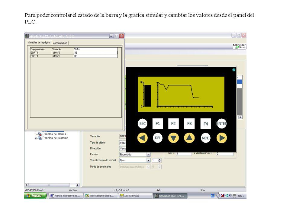 Para poder controlar el estado de la barra y la grafica simular y cambiar los valores desde el panel del PLC.