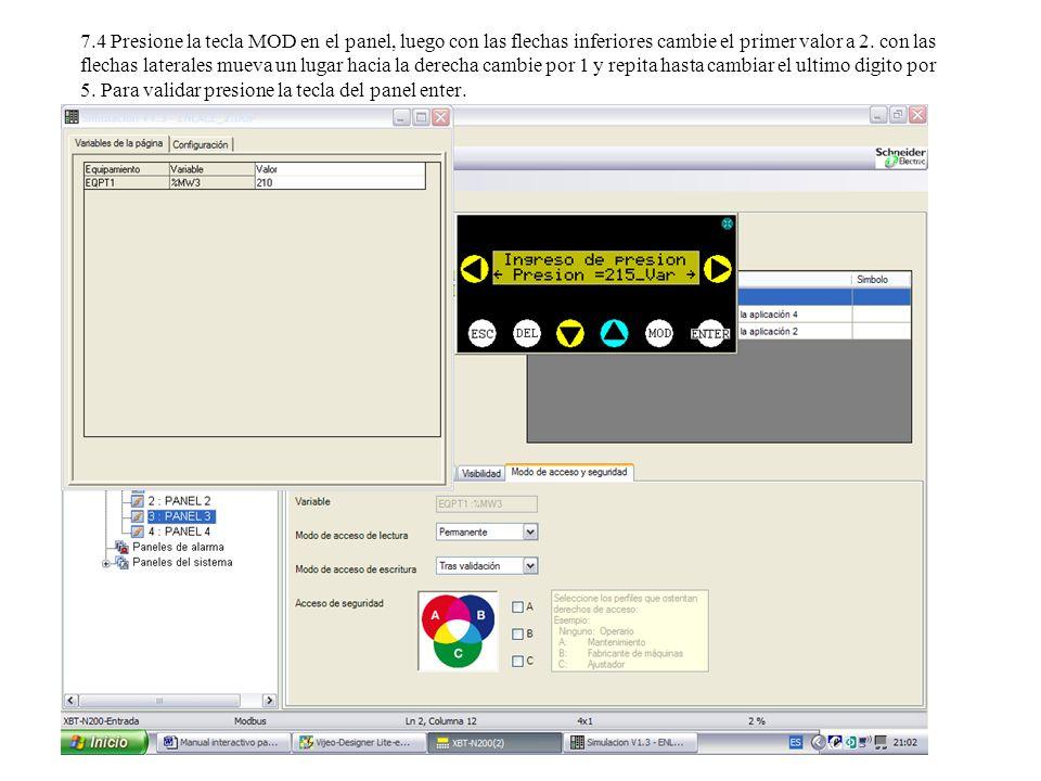 8.1 Activación de una variable digital (forzar desde la pantalla una variable 1 o 0) 8.2 Elija el panel 4 y repita los pasos anteriores con el dialogo Bomba de Agua.