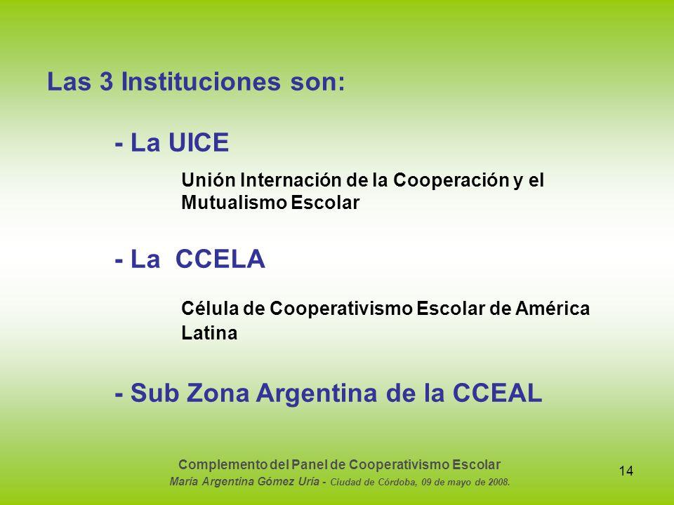 14 Las 3 Instituciones son: - La UICE Unión Internación de la Cooperación y el Mutualismo Escolar - La CCELA Célula de Cooperativismo Escolar de Améri