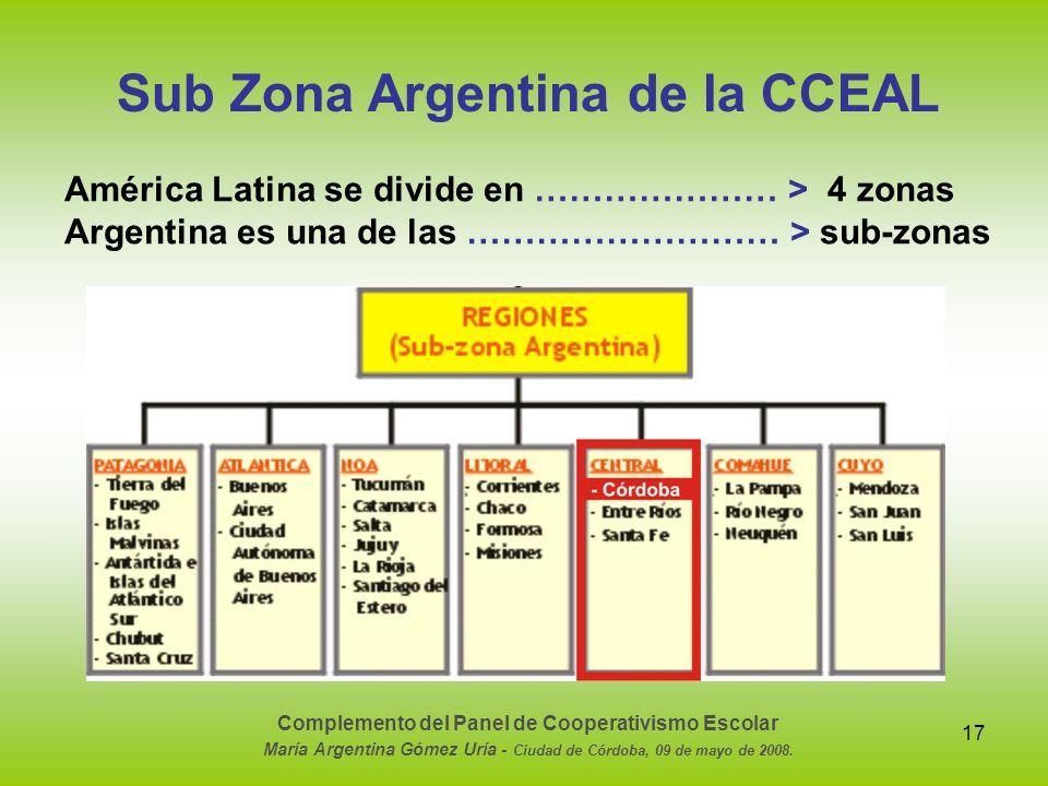 17 Sub Zona Argentina de la CCEAL América Latina se divide en ………………… > 4 zonas Argentina es una de las ……………………… > sub-zonas Complemento del Panel de