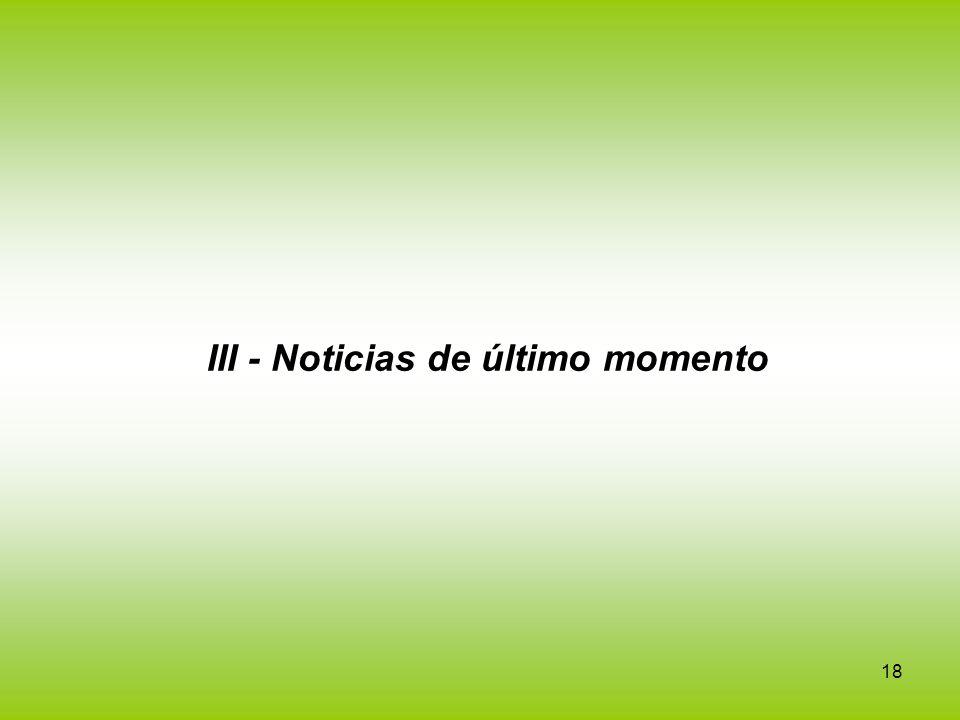 18 III - Noticias de último momento