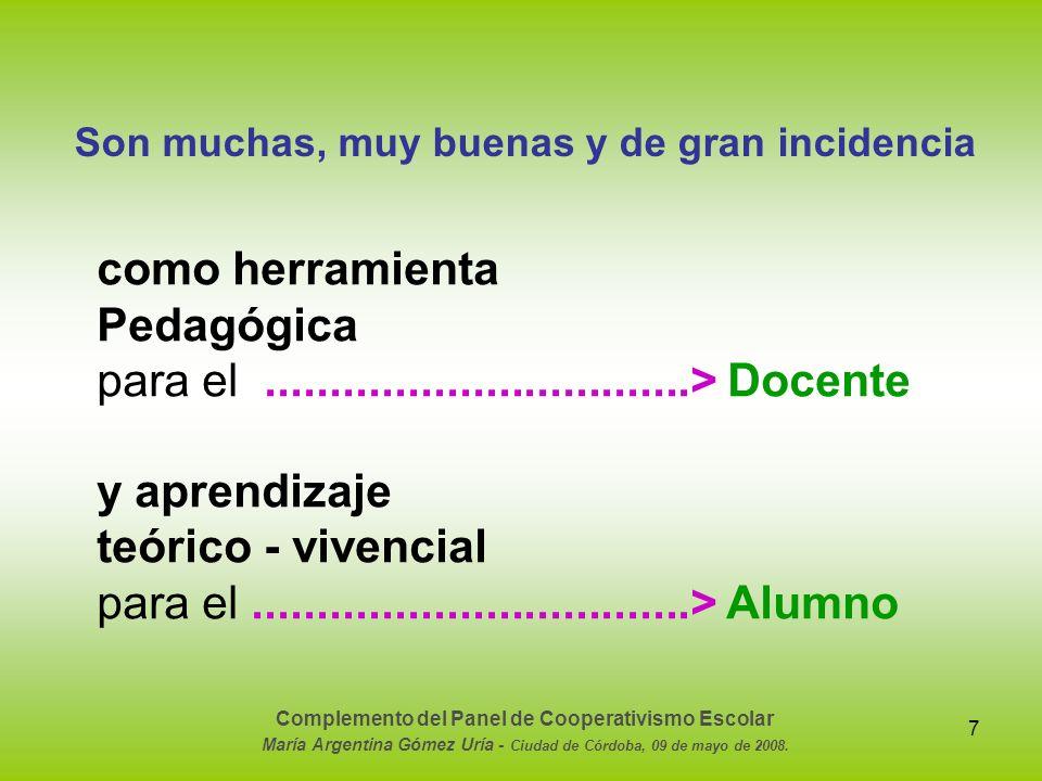 8 Veamos con imágenes: Experiencias en los tres ciclos de la enseñanza sistemática Complemento del Panel de Cooperativismo Escolar María Argentina Gómez Uría - Ciudad de Córdoba, 09 de mayo de 2008.