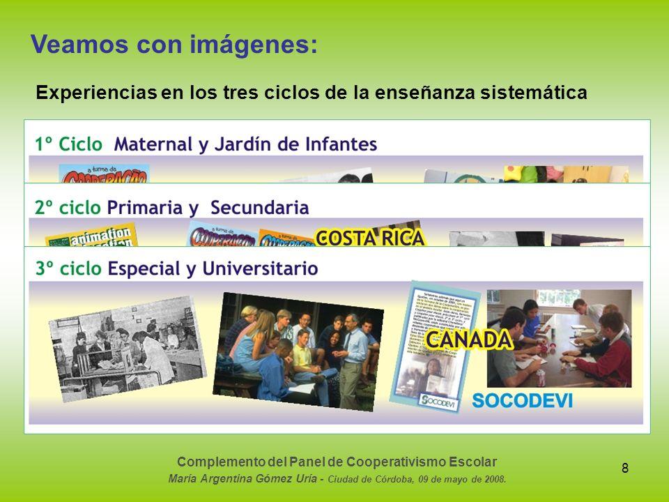 8 Veamos con imágenes: Experiencias en los tres ciclos de la enseñanza sistemática Complemento del Panel de Cooperativismo Escolar María Argentina Góm