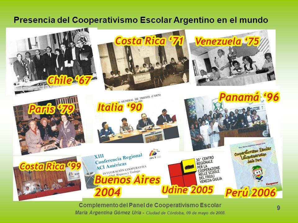 9 Presencia del Cooperativismo Escolar Argentino en el mundo Complemento del Panel de Cooperativismo Escolar María Argentina Gómez Uría - Ciudad de Có