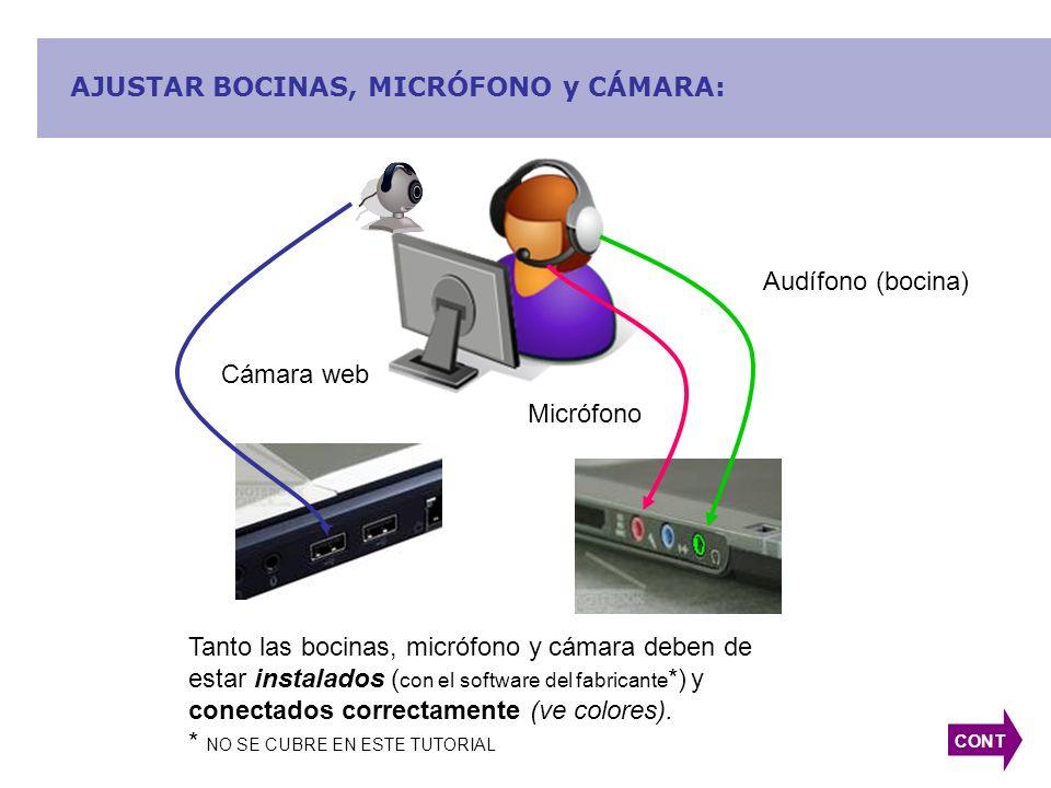 AJUSTAR BOCINAS, MICRÓFONO y CÁMARA: Audífono (bocina) Micrófono Tanto las bocinas, micrófono y cámara deben de estar instalados ( con el software del