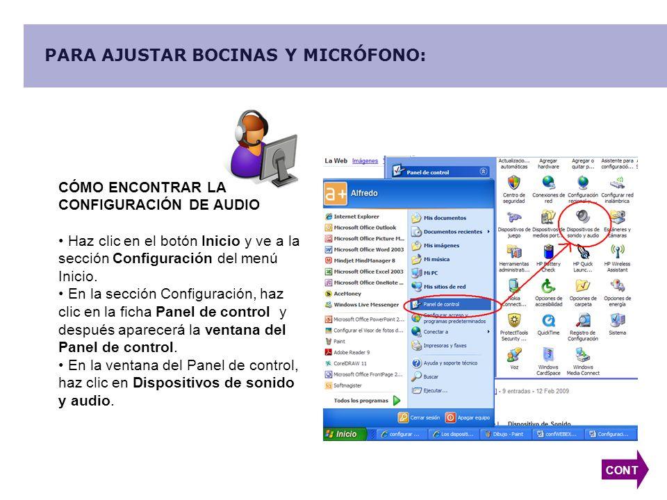 PARA AJUSTAR BOCINAS Y MICRÓFONO: CÓMO ENCONTRAR LA CONFIGURACIÓN DE AUDIO Haz clic en el botón Inicio y ve a la sección Configuración del menú Inicio