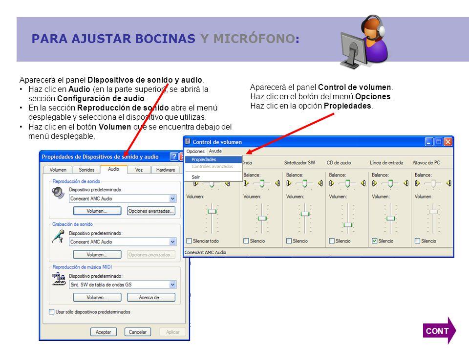 PARA AJUSTAR BOCINAS Y MICRÓFONO: CONT Aparecerá el panel Dispositivos de sonido y audio. Haz clic en Audio (en la parte superior); se abrirá la secci