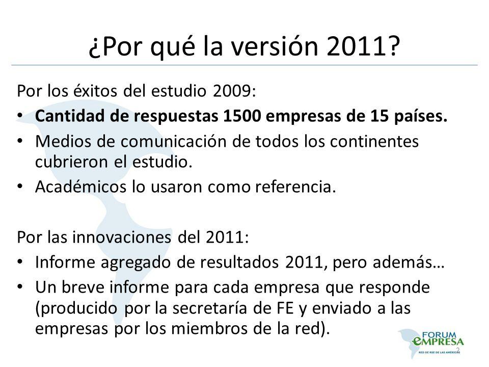 ¿Por qué la versión 2011? Por los éxitos del estudio 2009: Cantidad de respuestas 1500 empresas de 15 países. Medios de comunicación de todos los cont