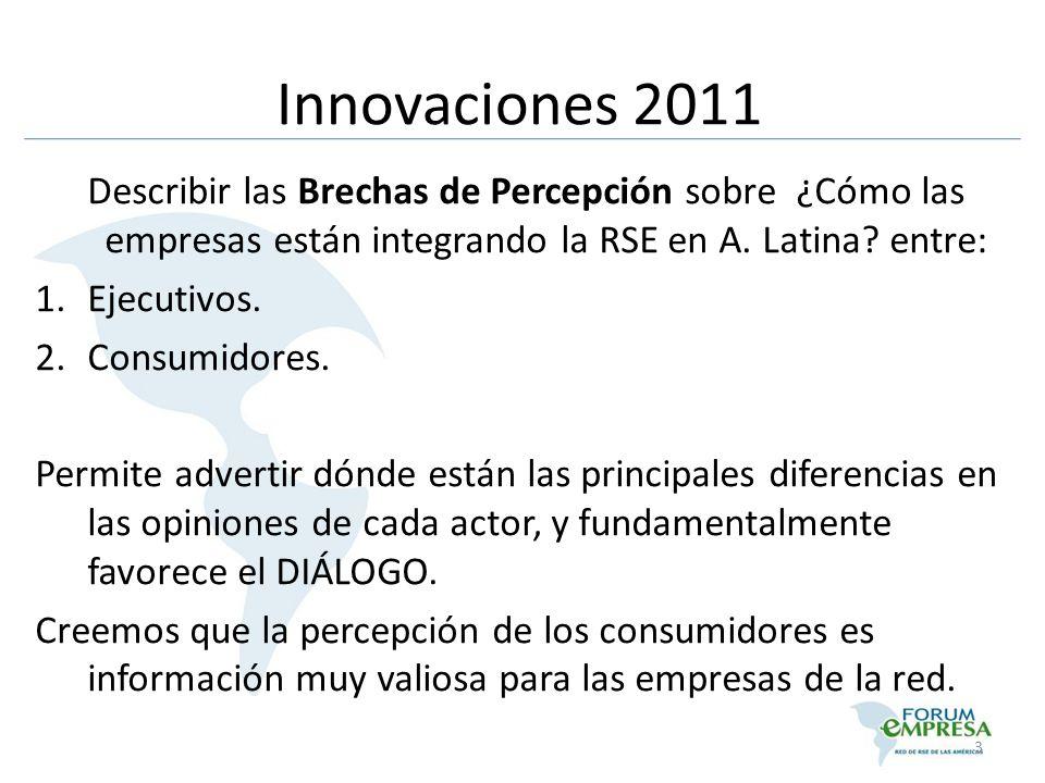 Describir las Brechas de Percepción sobre ¿Cómo las empresas están integrando la RSE en A. Latina? entre: 1.Ejecutivos. 2.Consumidores. Permite advert