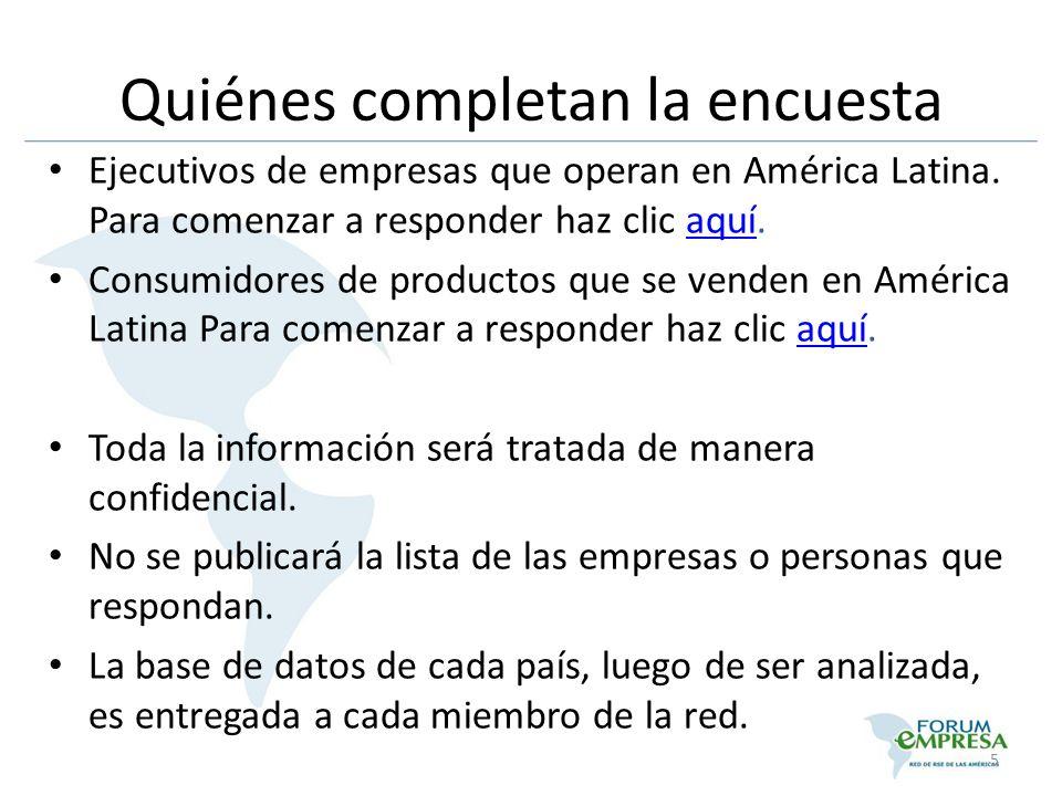 Quiénes completan la encuesta Ejecutivos de empresas que operan en América Latina. Para comenzar a responder haz clic aquí.aquí Consumidores de produc