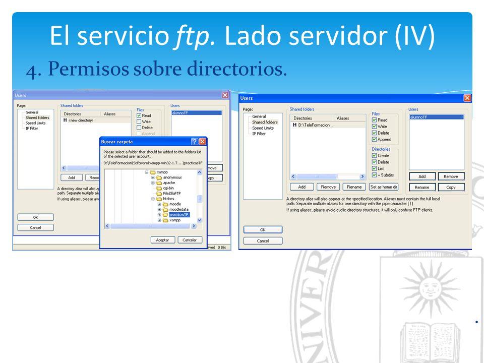 El servicio ftp. Lado servidor (IV) 4. Permisos sobre directorios..