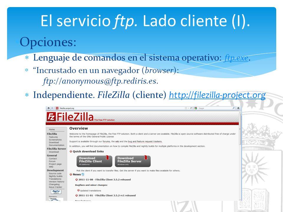 El servicio ftp. Lado cliente (I).