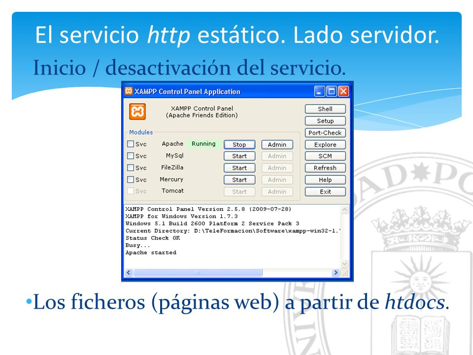 El servicio http estático. Lado servidor. Inicio / desactivación del servicio.