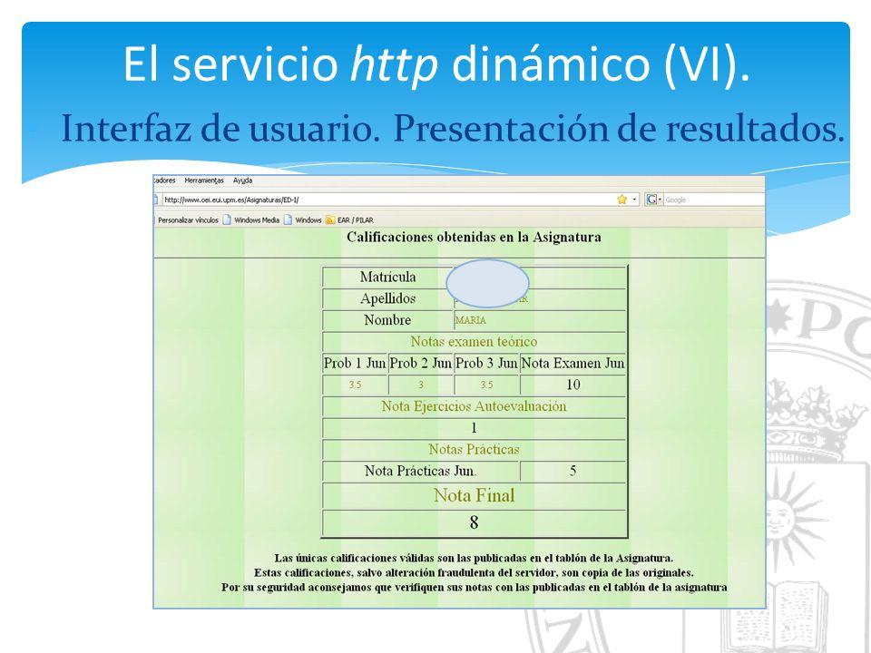El servicio http dinámico (VI). Interfaz de usuario. Presentación de resultados.