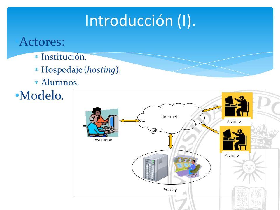 Introducción (I). Actores: Institución. Hospedaje (hosting).