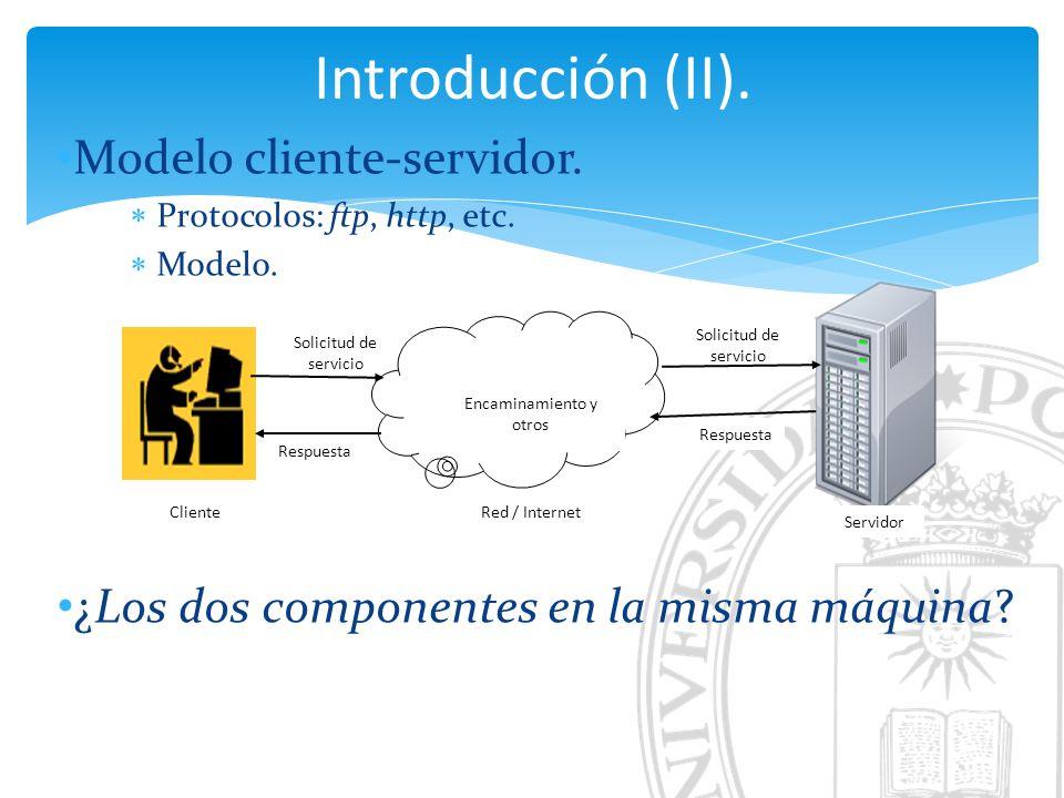 Introducción (II). Modelo cliente-servidor. Protocolos: ftp, http, etc.